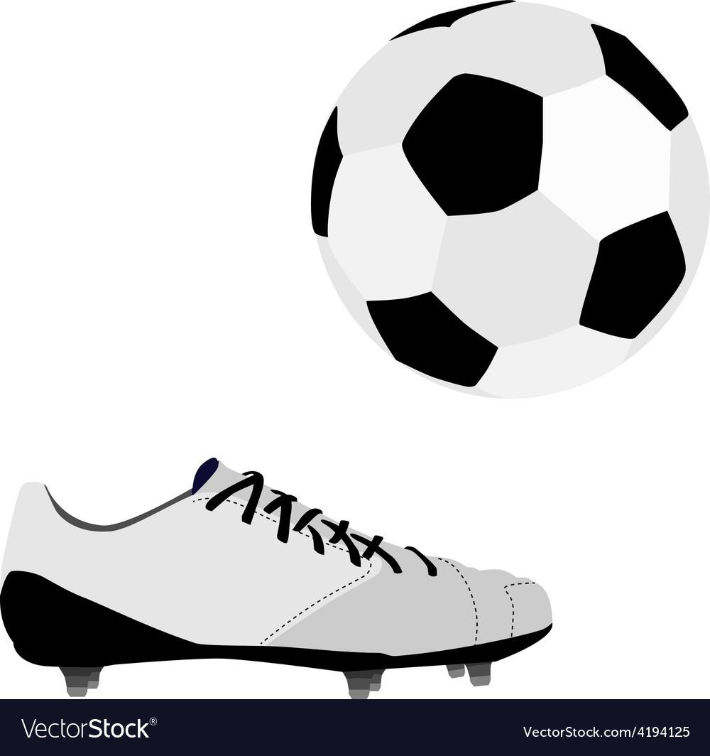 Football ball and shoe vector image