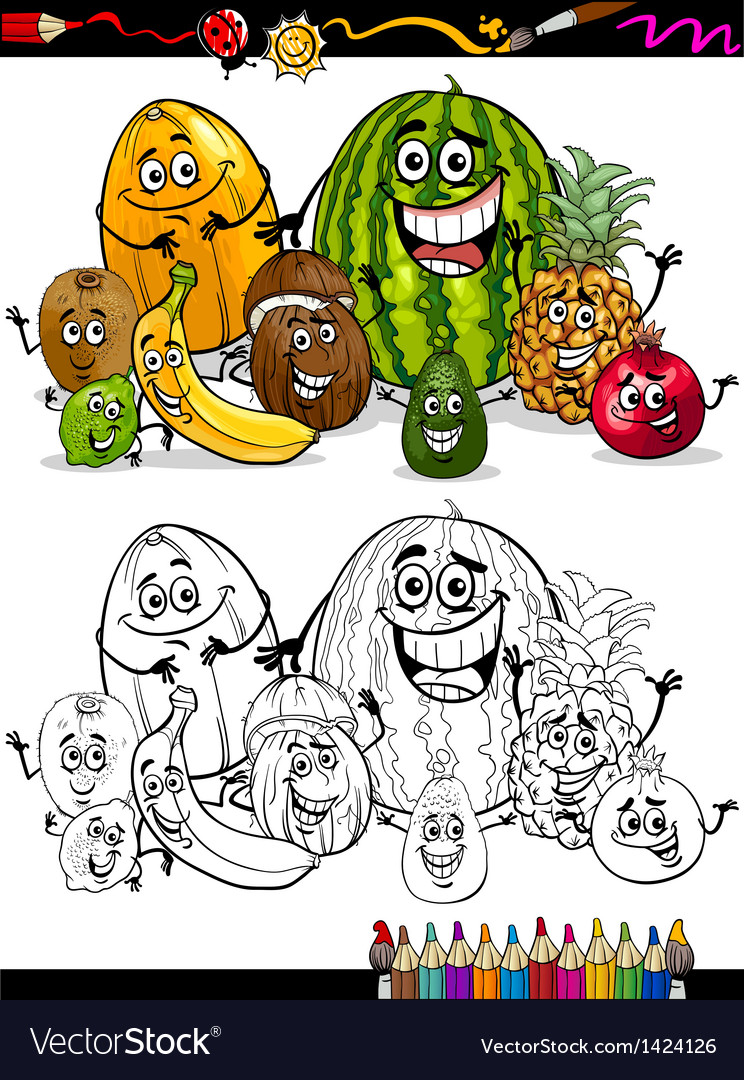 Cartoon tropical fruits for coloring book vector image