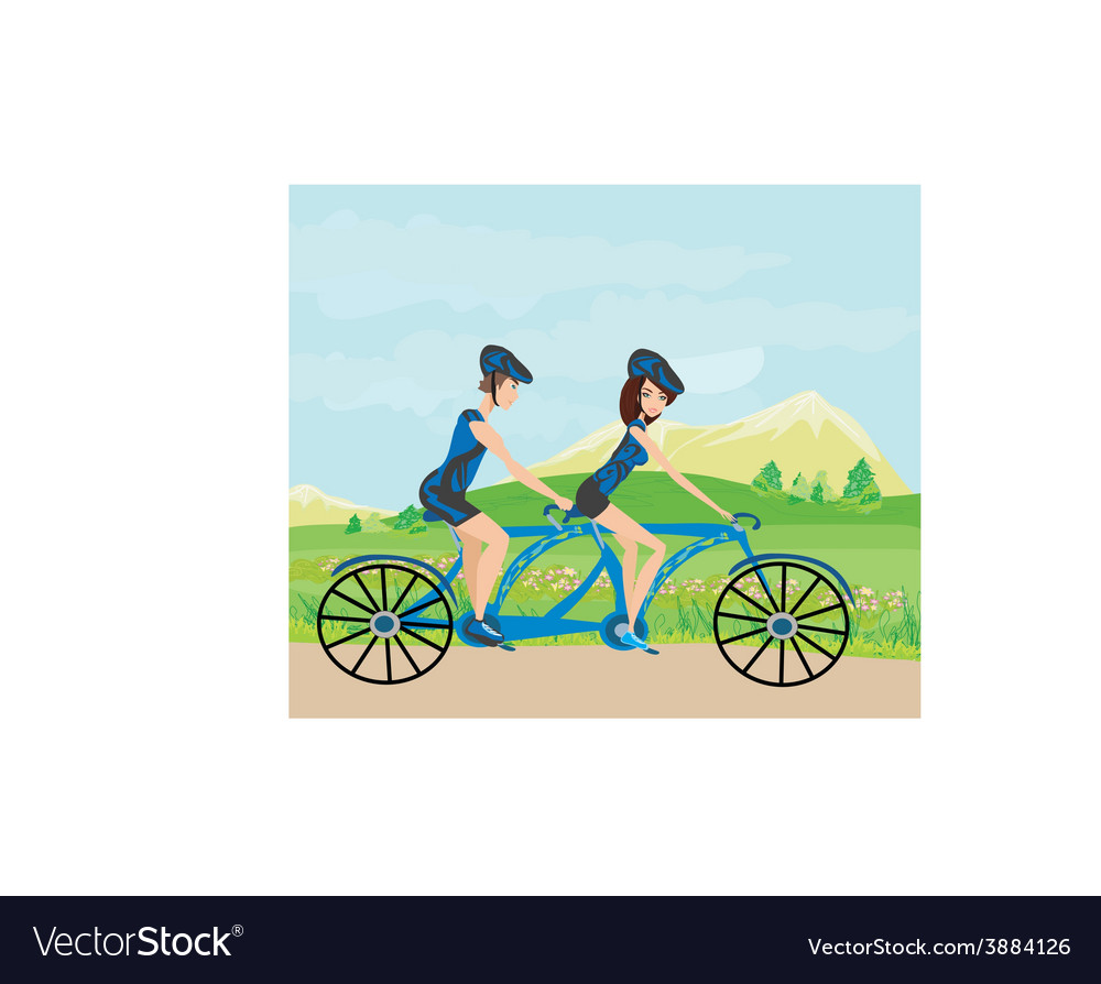 Couple biking in the mountains vector image
