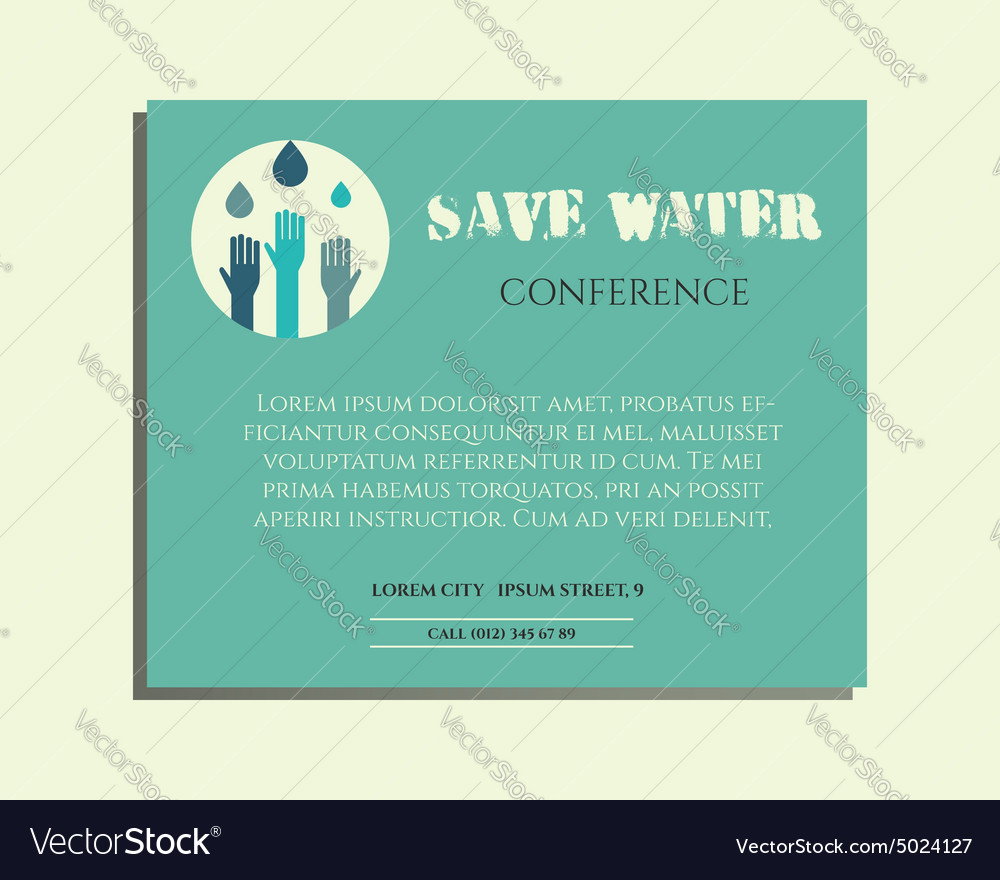 Save water conference poster invitation template vector image stopboris Gallery