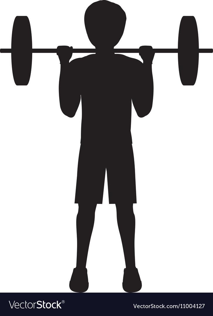 silhouette man weightlifting second position vector image