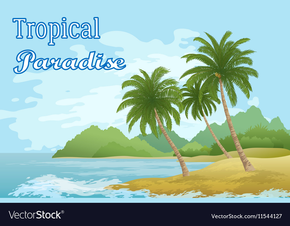 Tropical Sea Landscape with Palm Trees vector image