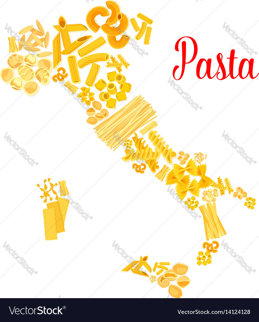 Pasta or italian macaroni italy map vector image