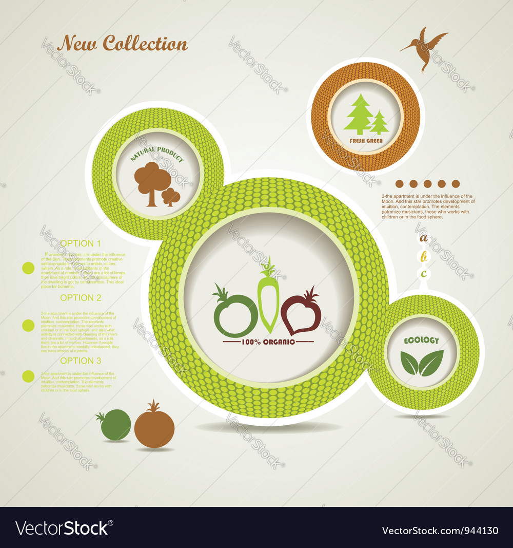 Organic food bubbles vector image