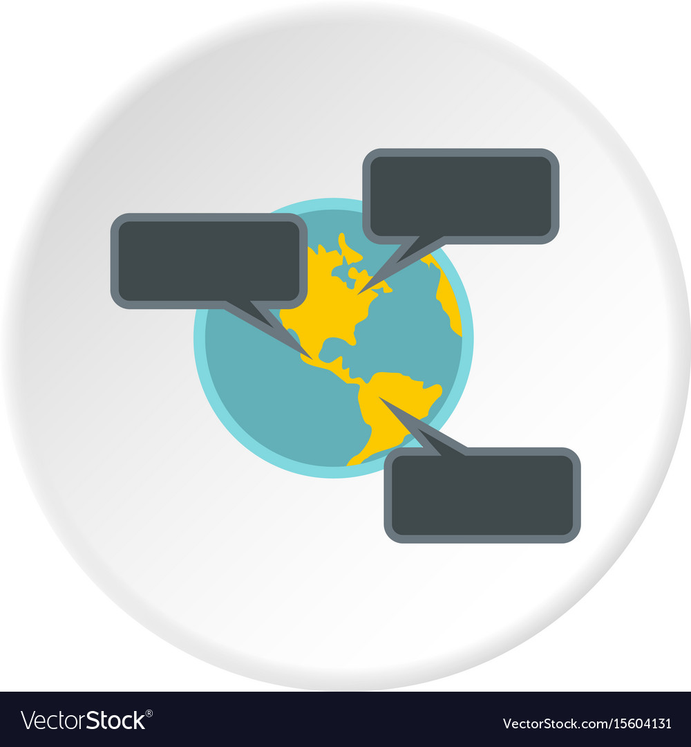 Online chat around the world icon circle vector image