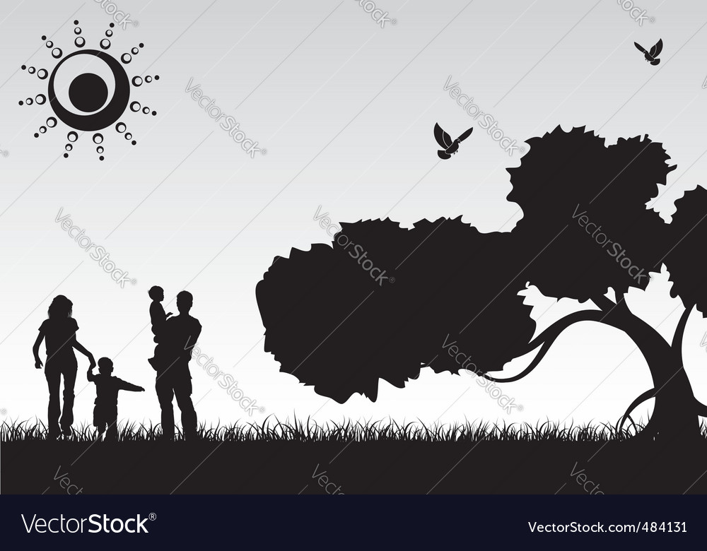 Silhouette family vector image