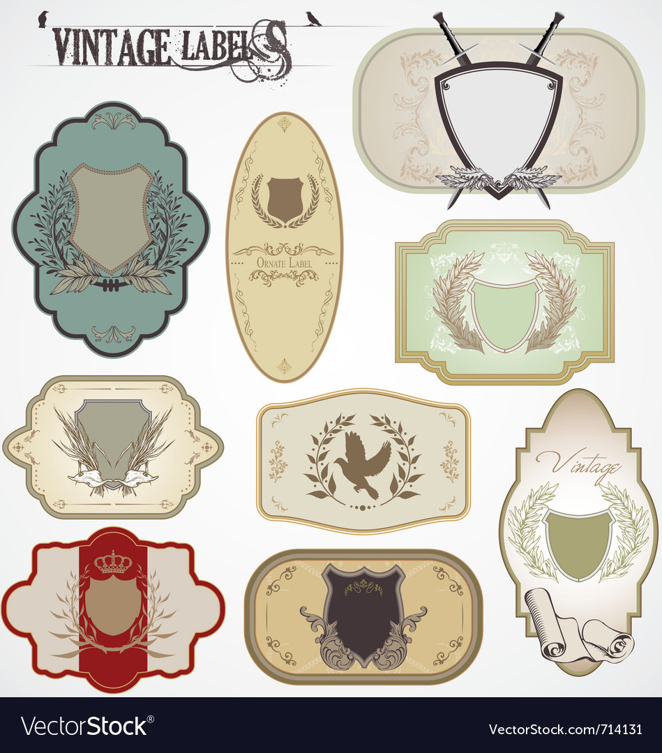Vintage labels with laurel wreaths and shields vector image