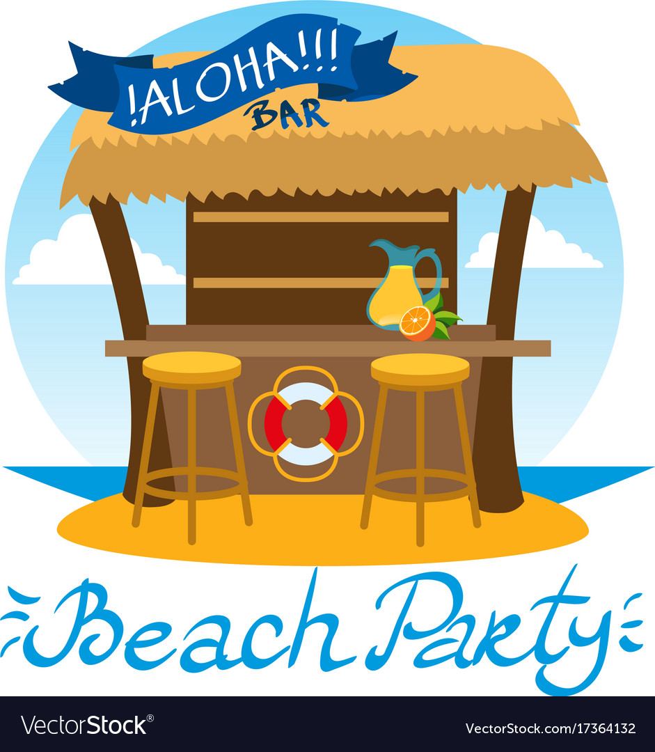 Summer bar beach vacation isolated on white vector image
