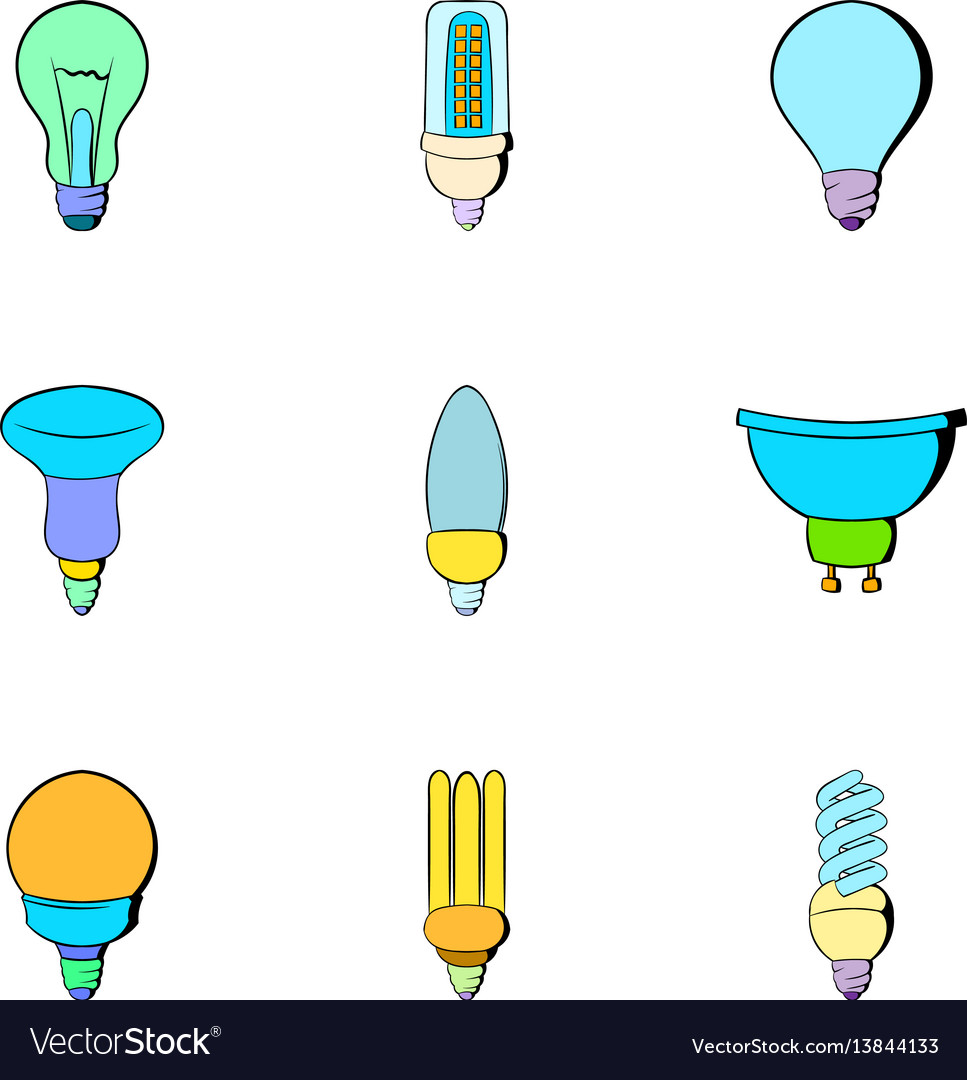 Bulb icons set cartoon style vector image