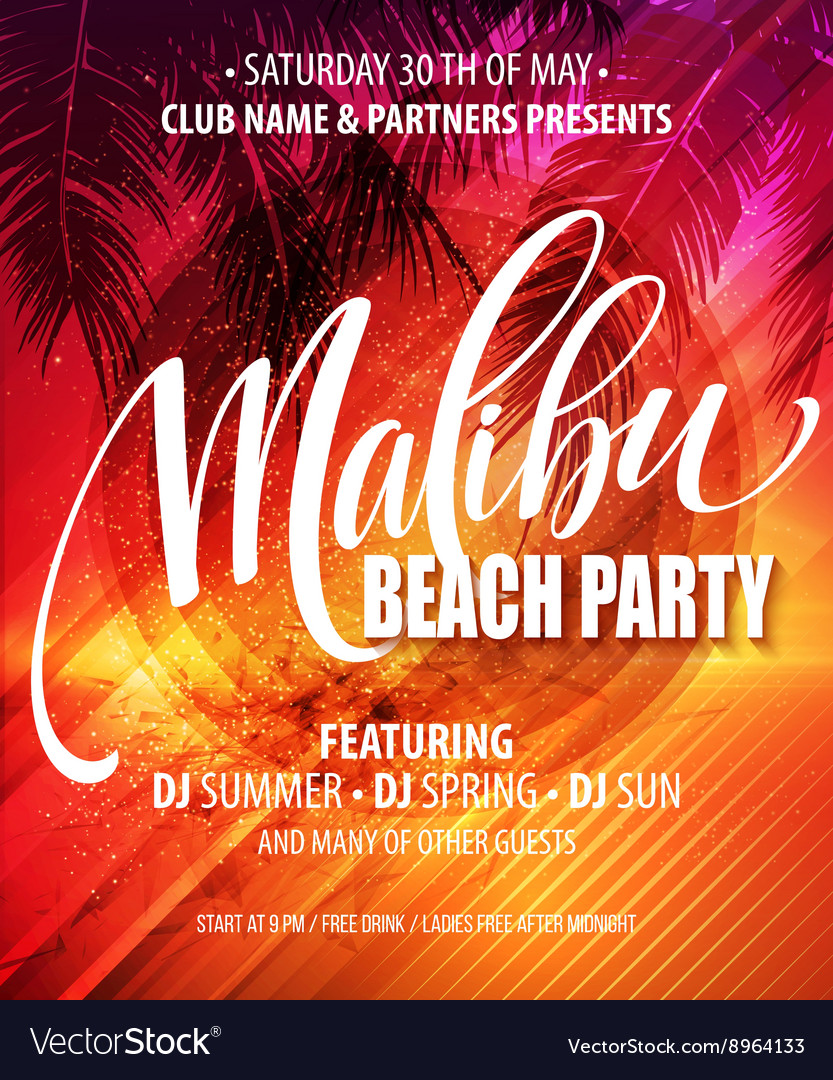 Malibu Beach Party poster Tropical background vector image