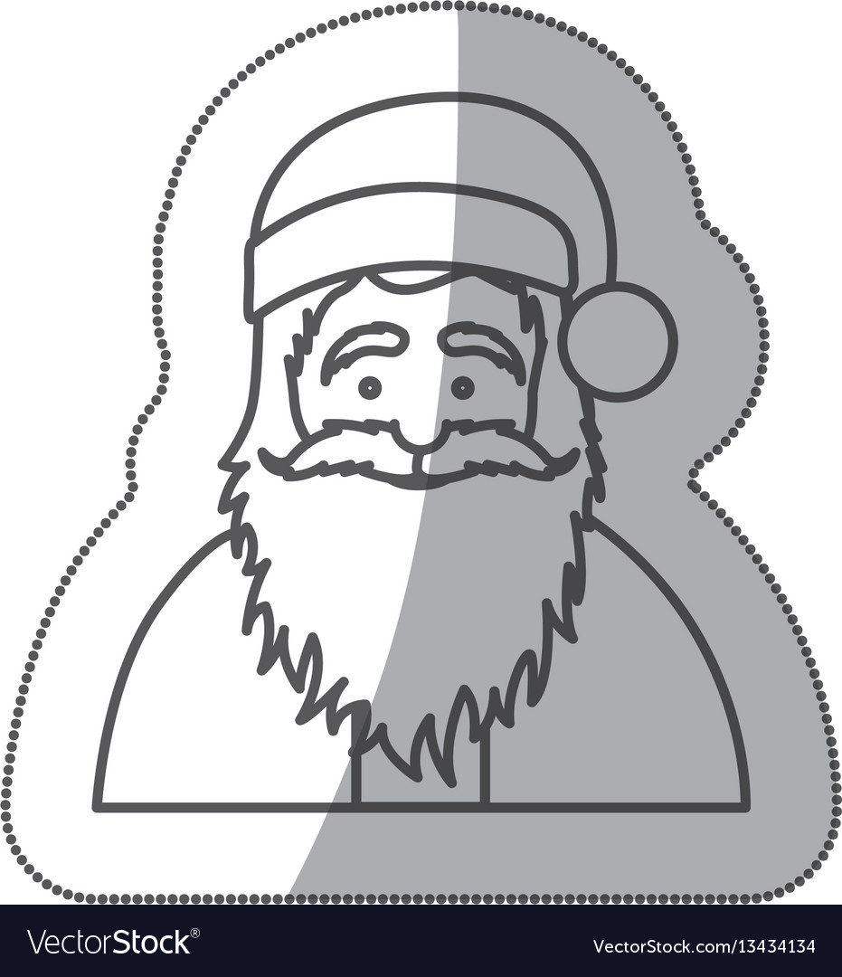 Figure sticker santa claus icon vector image