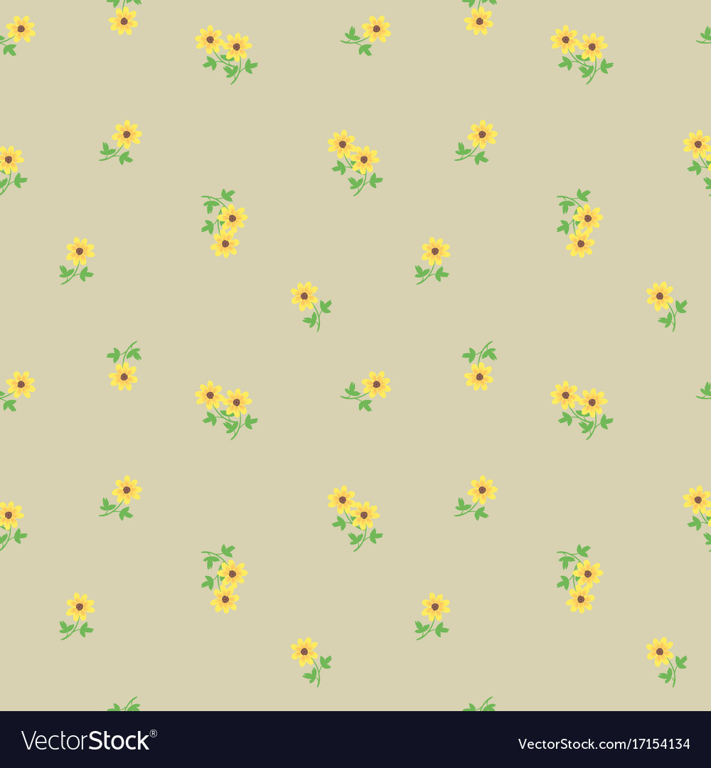 Small Tiny Yellow Flowers With Leaves Scattered On