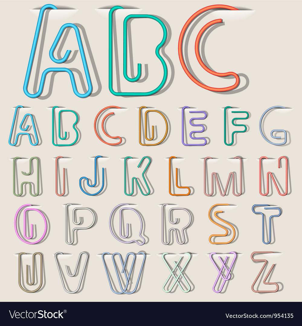 Clip paper alphabet Vector Image