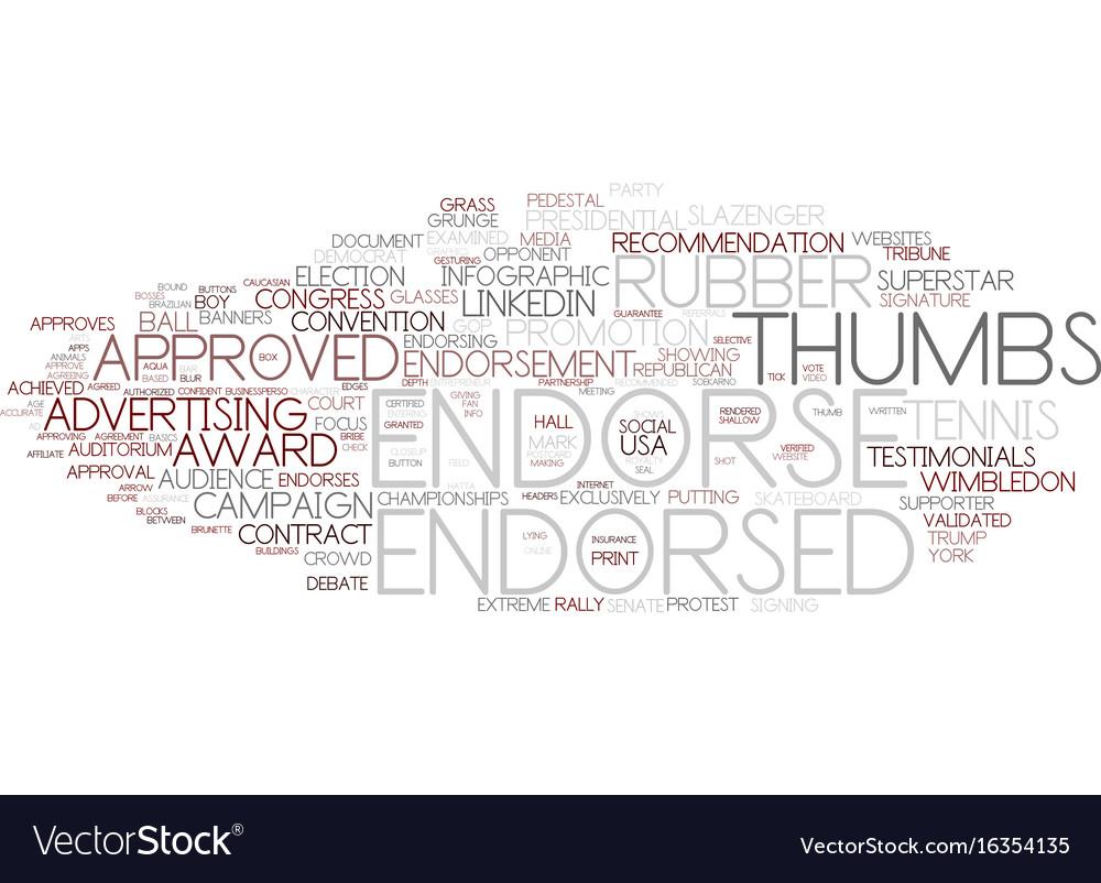 Endorse word cloud concept vector image