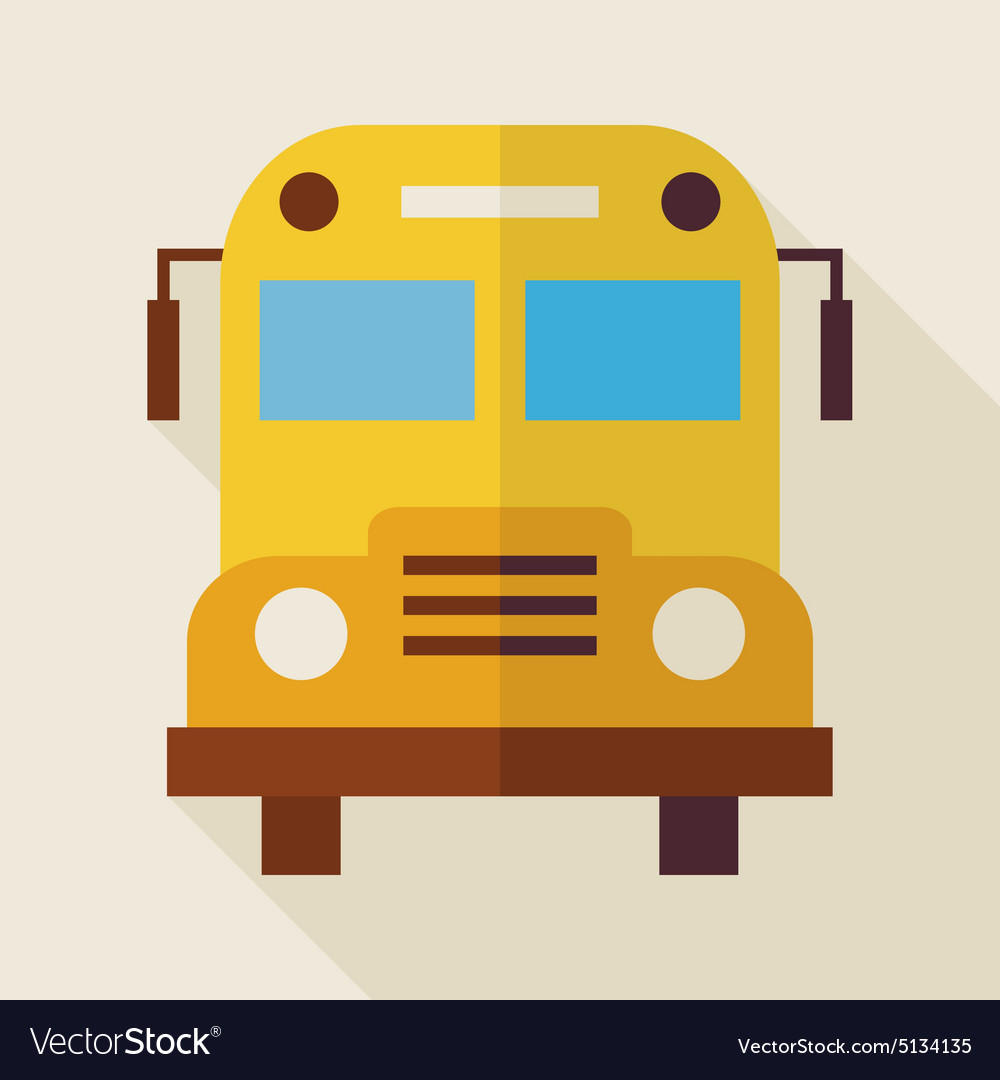 Flat School Bus with long Shadow vector image