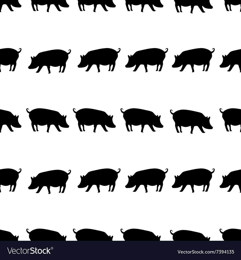 Pig black shadows silhouette in lines pattern vector image