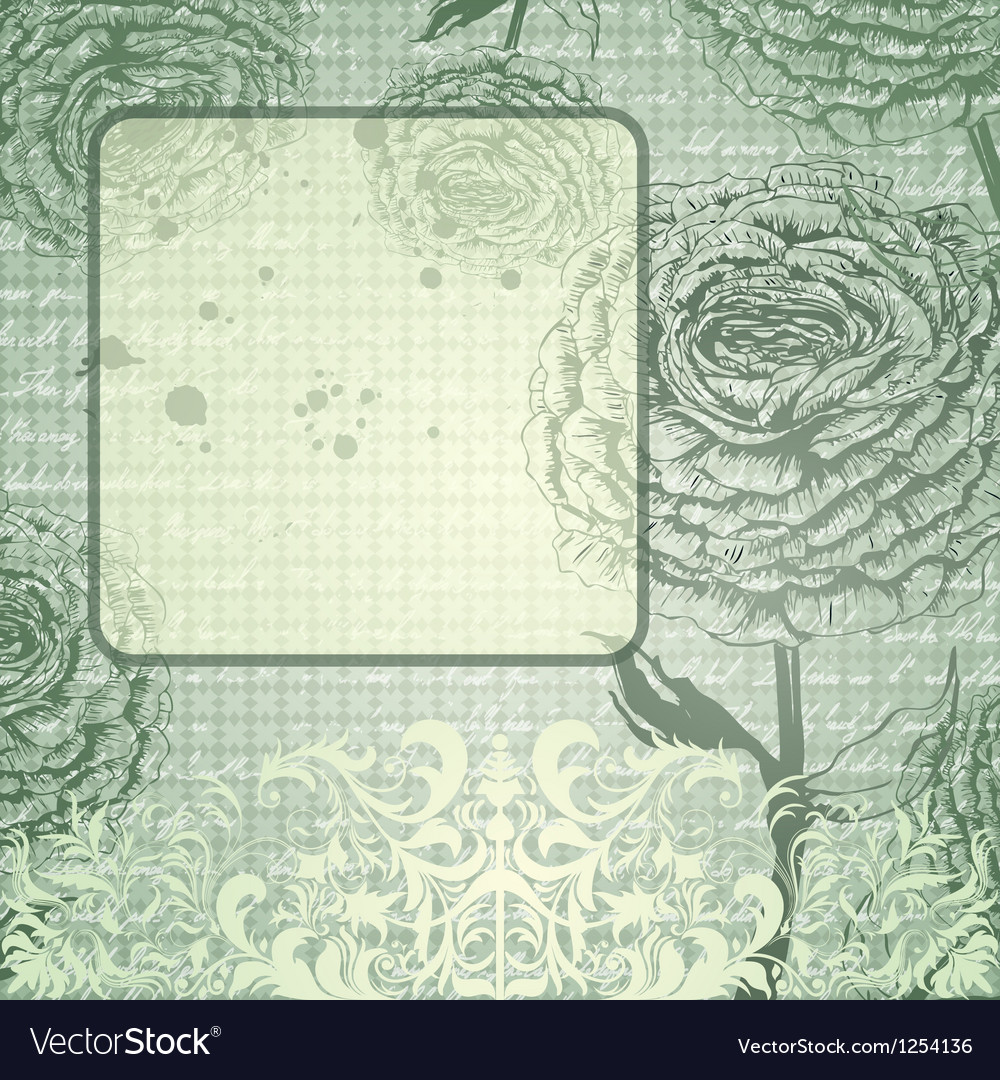 Grungy background with handdrawn roses vector image