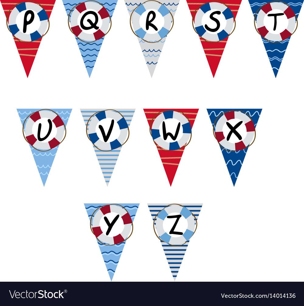 Alphabet nautical garland p to z - vector image