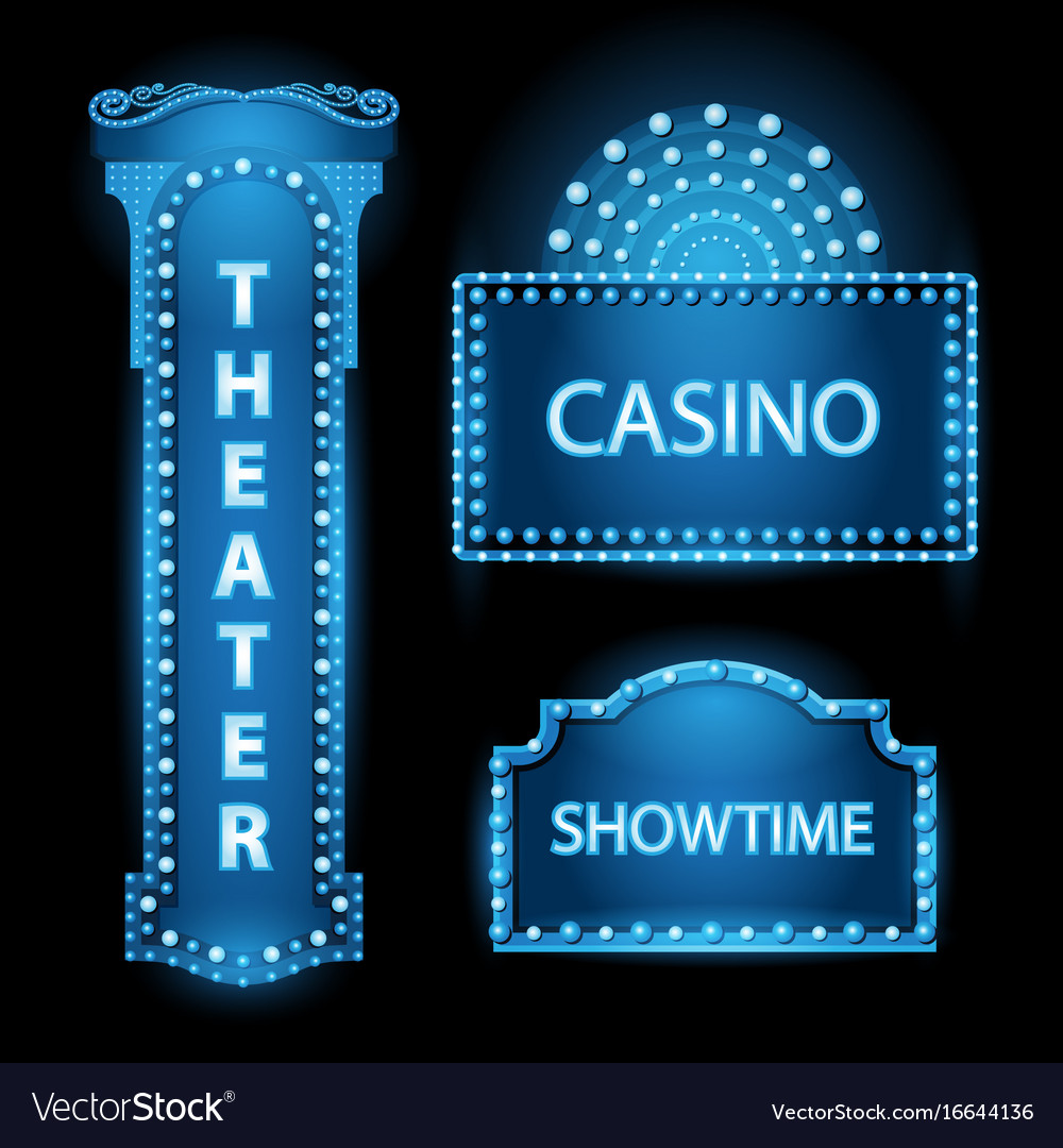 Brightly blue theater glowing retro cinema neon vector image