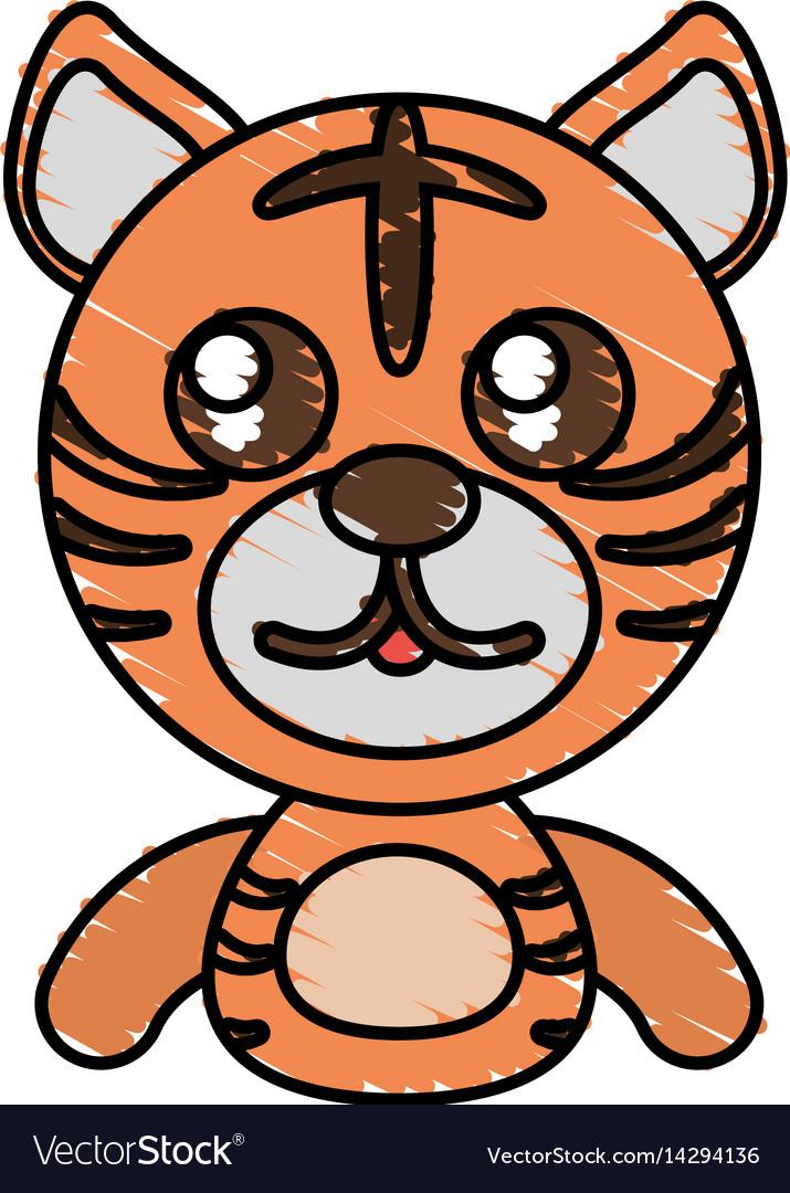 Draw tiger animal comic vector image
