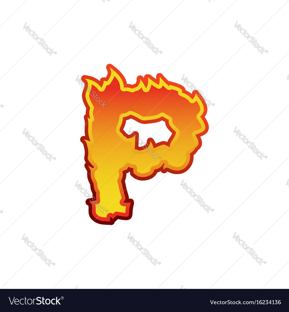 Letter p fire flames font lettering tattoo vector image