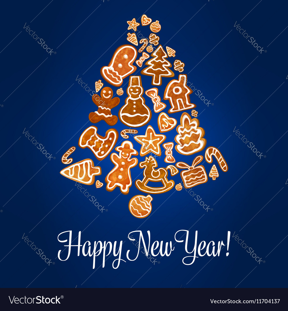 Happy New Year poster Gingerbread jingle bell vector image