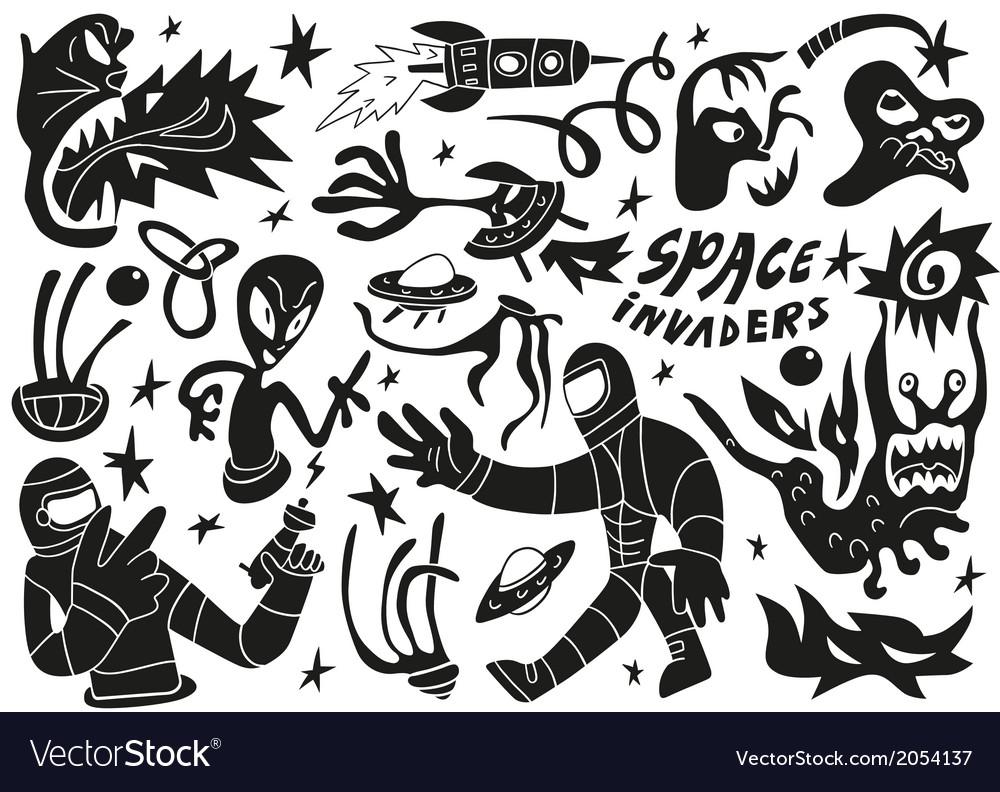 Space invaders aliens - doodles set part 2 vector image