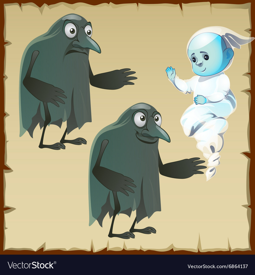 Two ghosts sad and cheerful with beak crows vector image