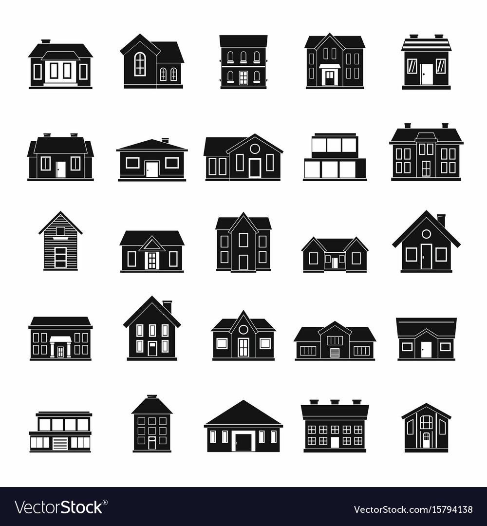 Houses icon set in black silhouettes simple style vector image
