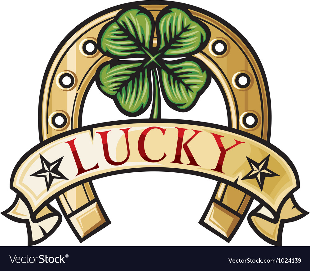 Uncategorized Lucky Symbol horseshoe and four leaf clover lucky symbol vector image image