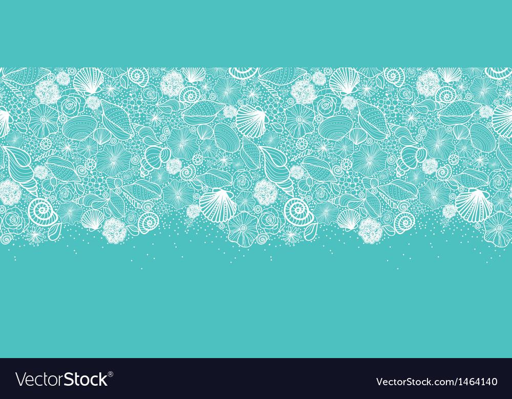 Blue seashells line art horizontal seamless vector image