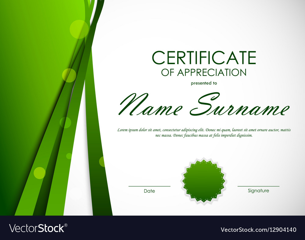 Certificate of appreciation template royalty free vector certificate of appreciation template vector image xflitez Image collections