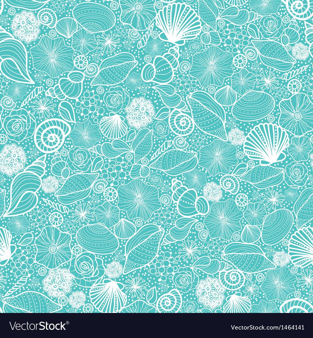 Blue seashells line art seamless pattern Vector Image