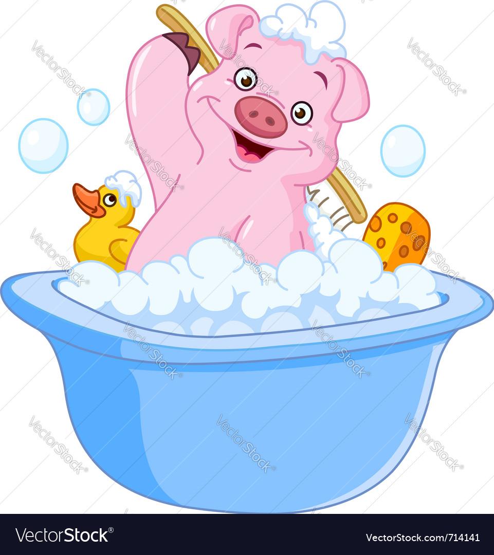 Pig taking a bath vector image