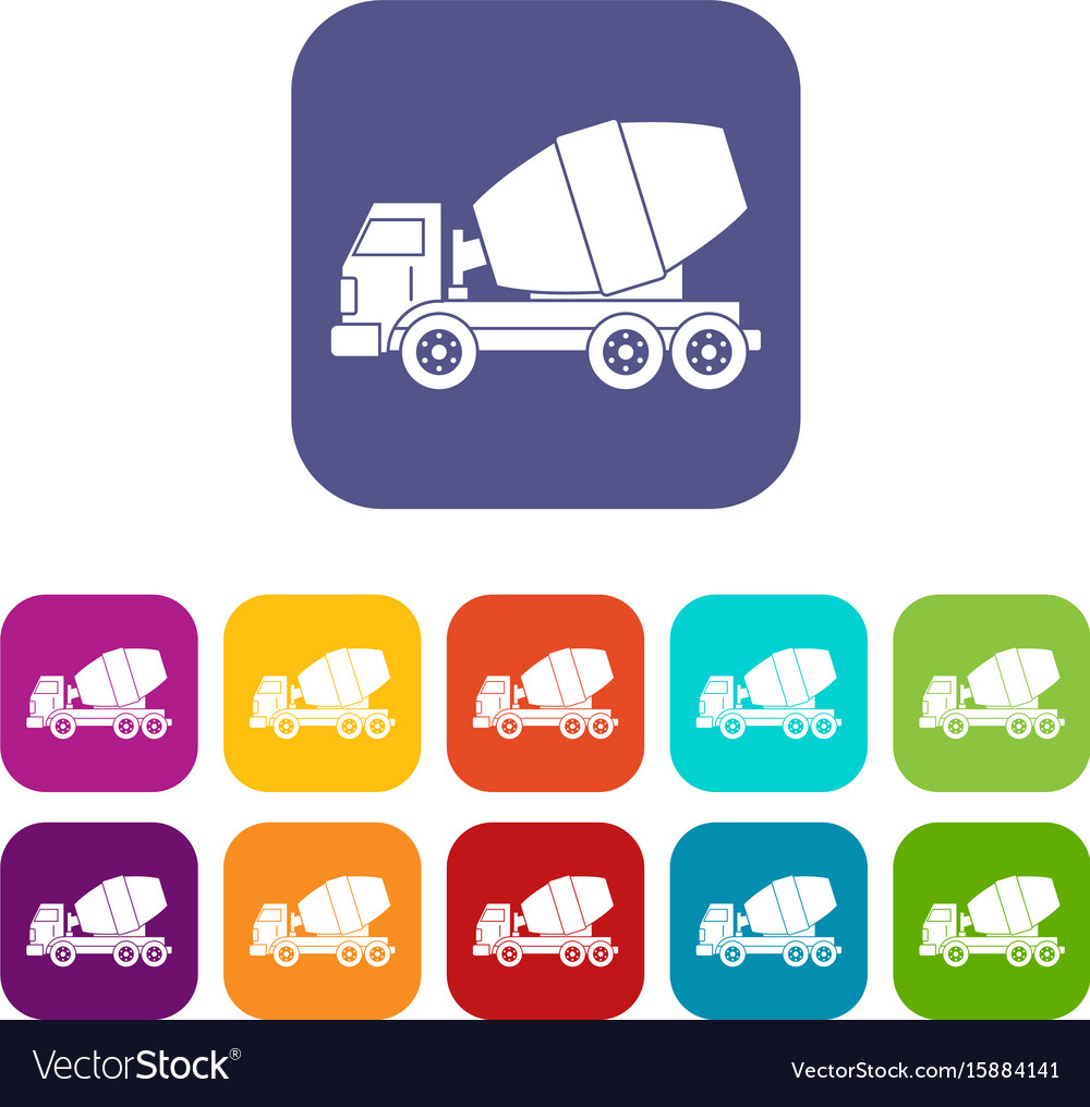 Truck concrete mixer icons set flat vector image