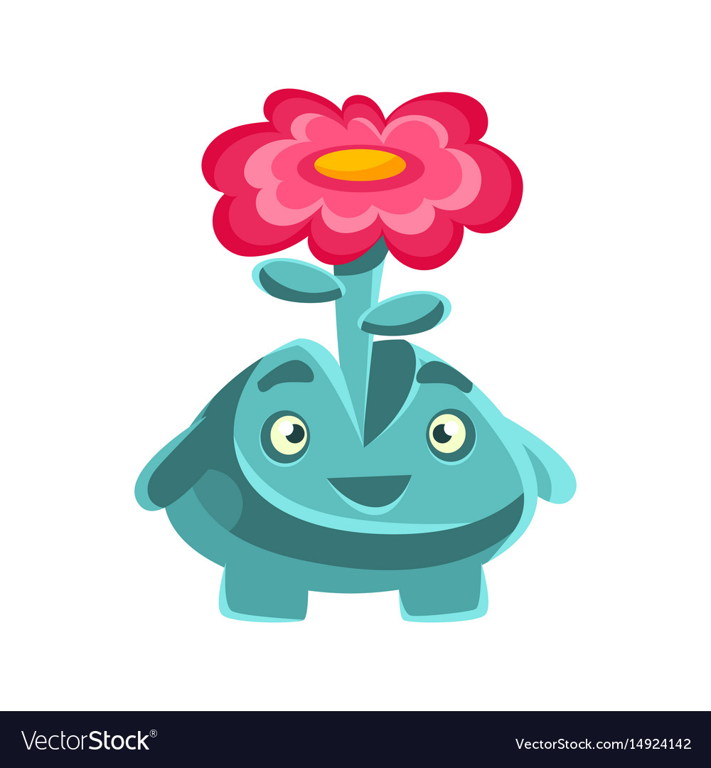 Cute friendly plant with a flower on his head vector image