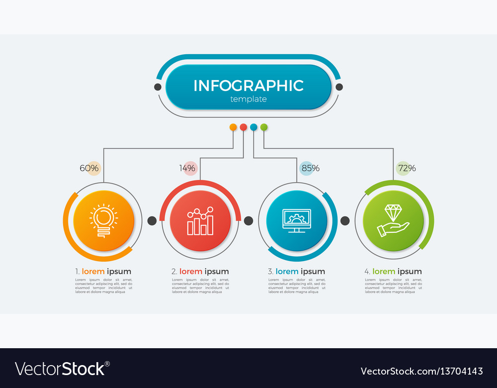 Presentation infographic template 4 options vector image