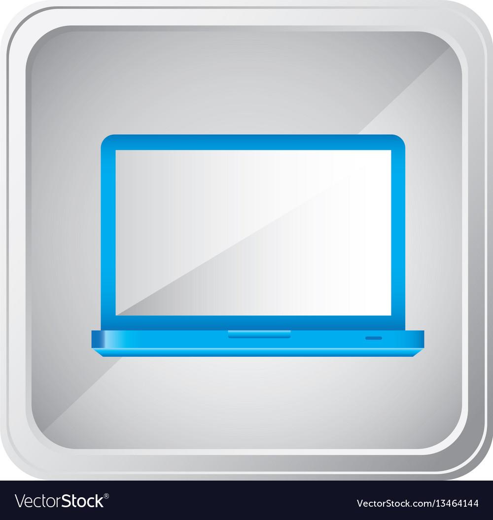 Emblem blue laptop icon vector image