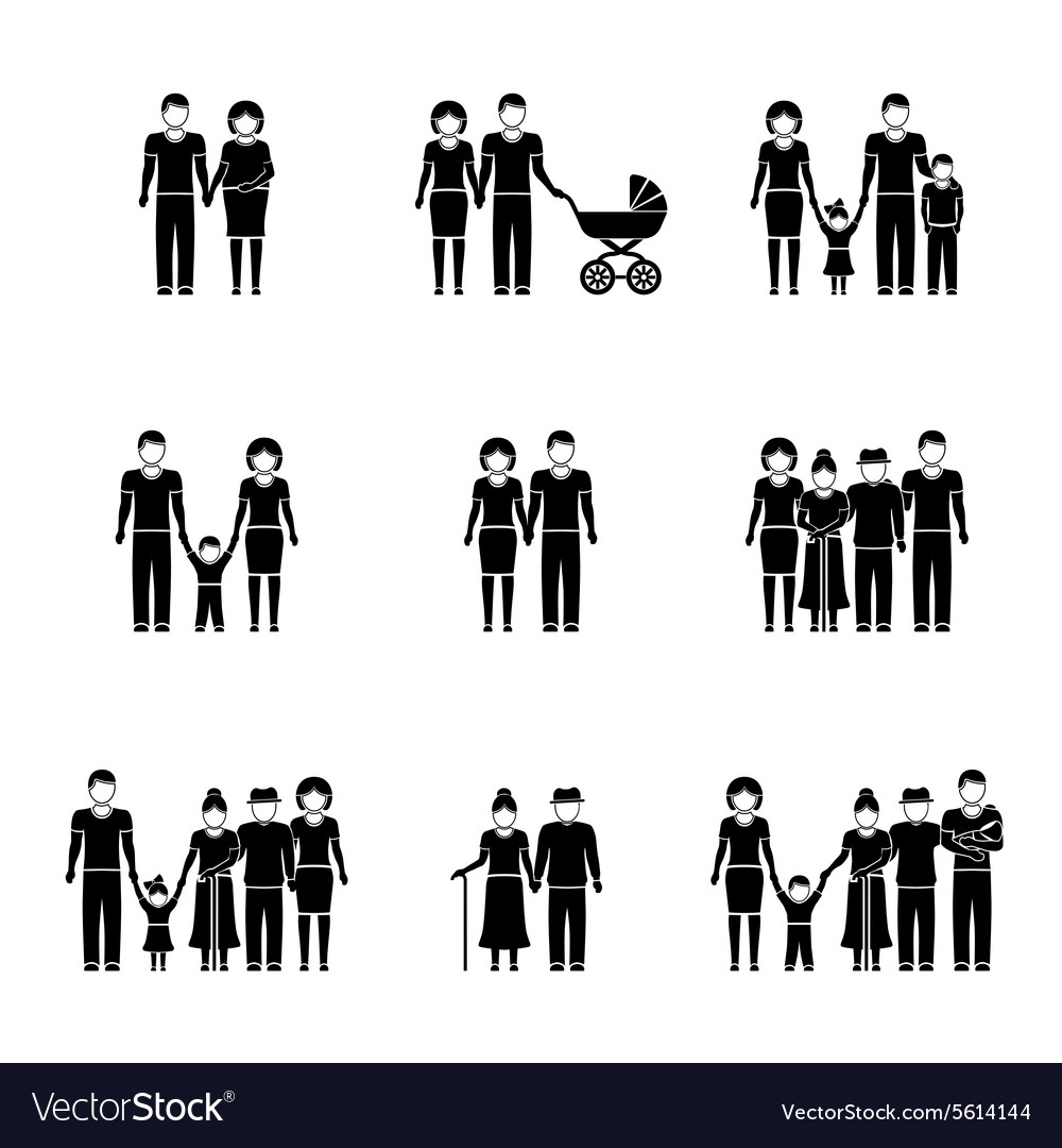 Multigenerational family monochrome icons set with vector image