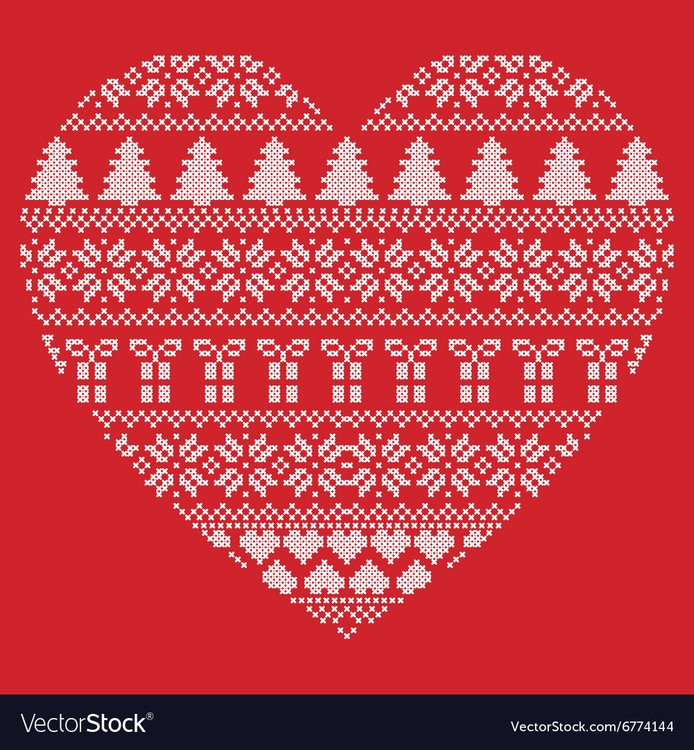 Pattern cross stitch heart shape on red background vector image