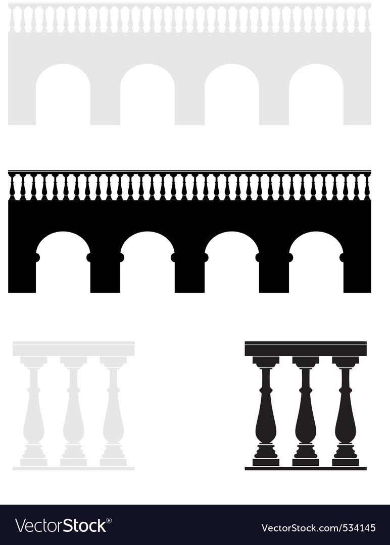 Ancient bridge balustrade Vector Image