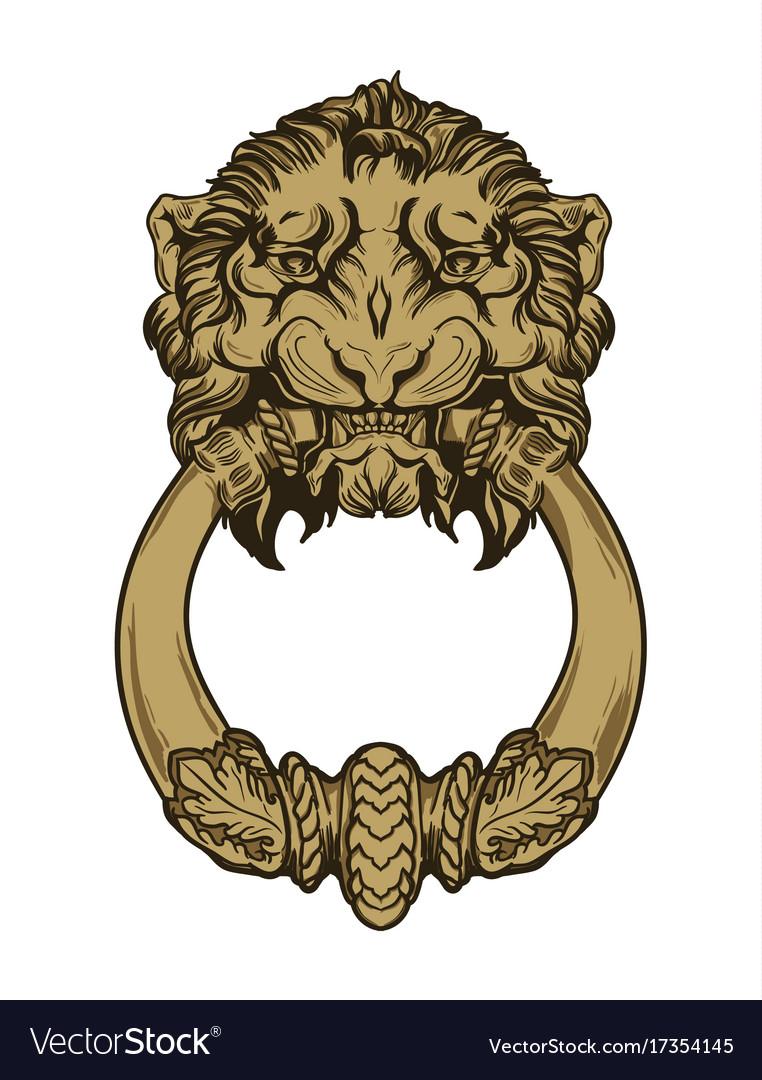Gold lion head door knocker hand drawn Royalty Free Vector