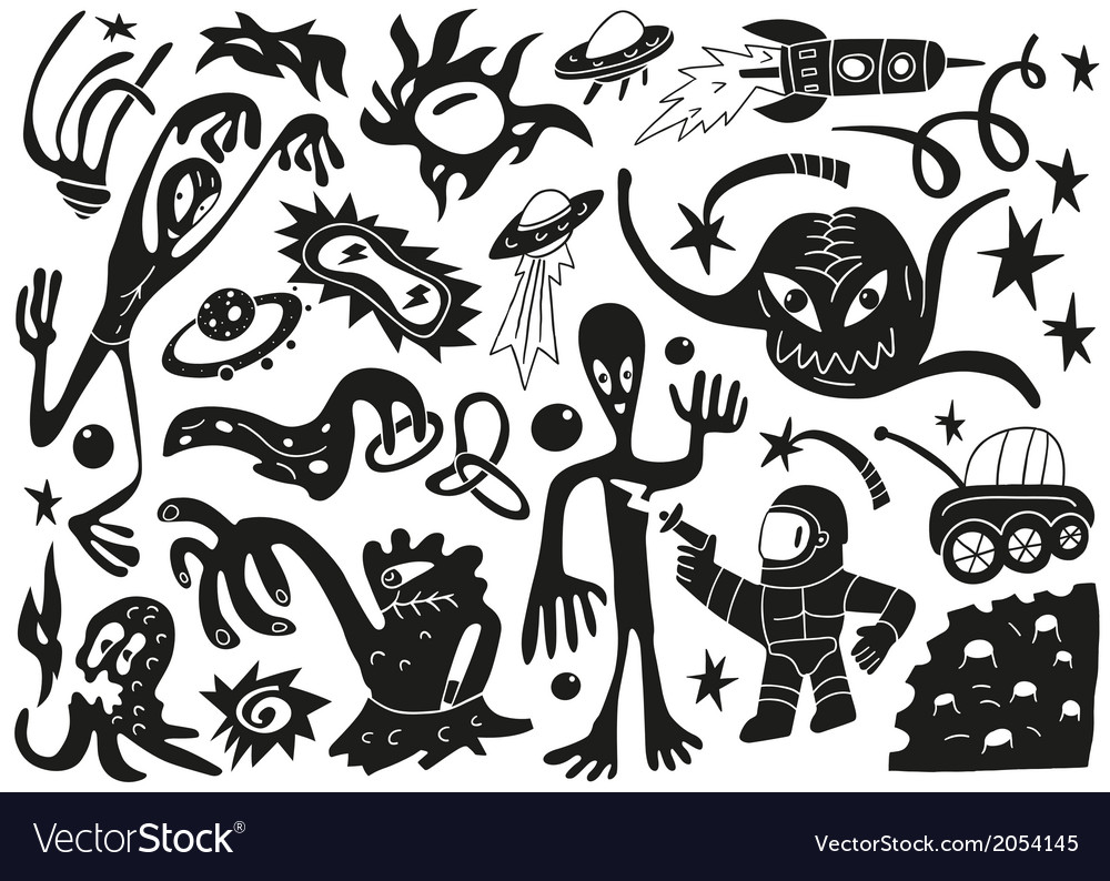 Space invaders aliens - doodles set part 1 vector image