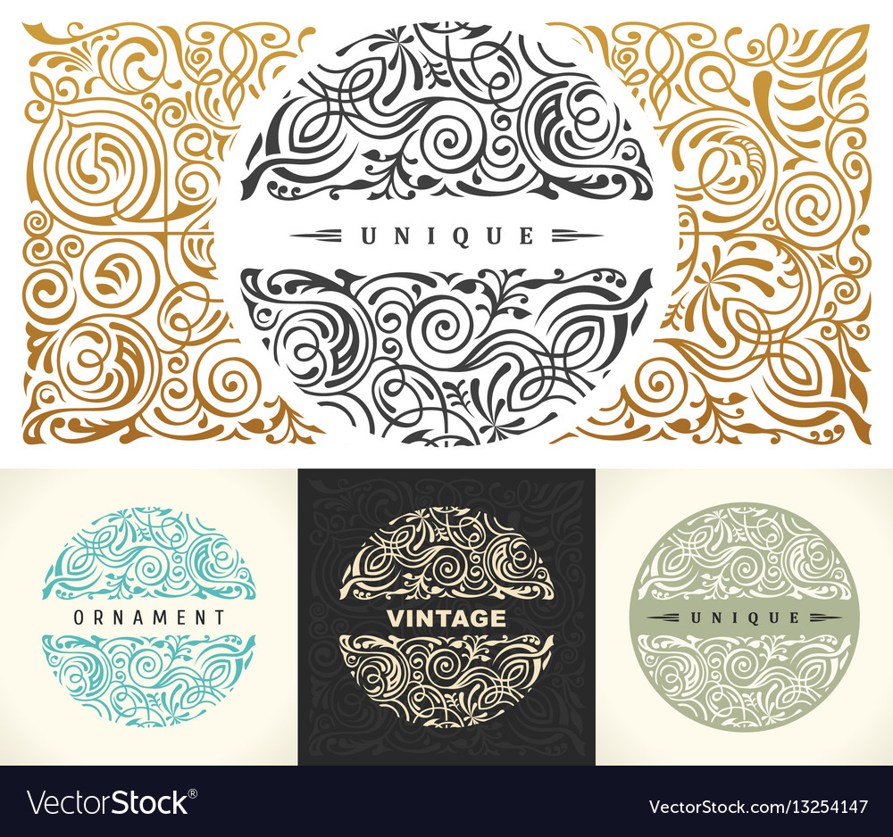 Round gold calligraphic royal emblem set vector image