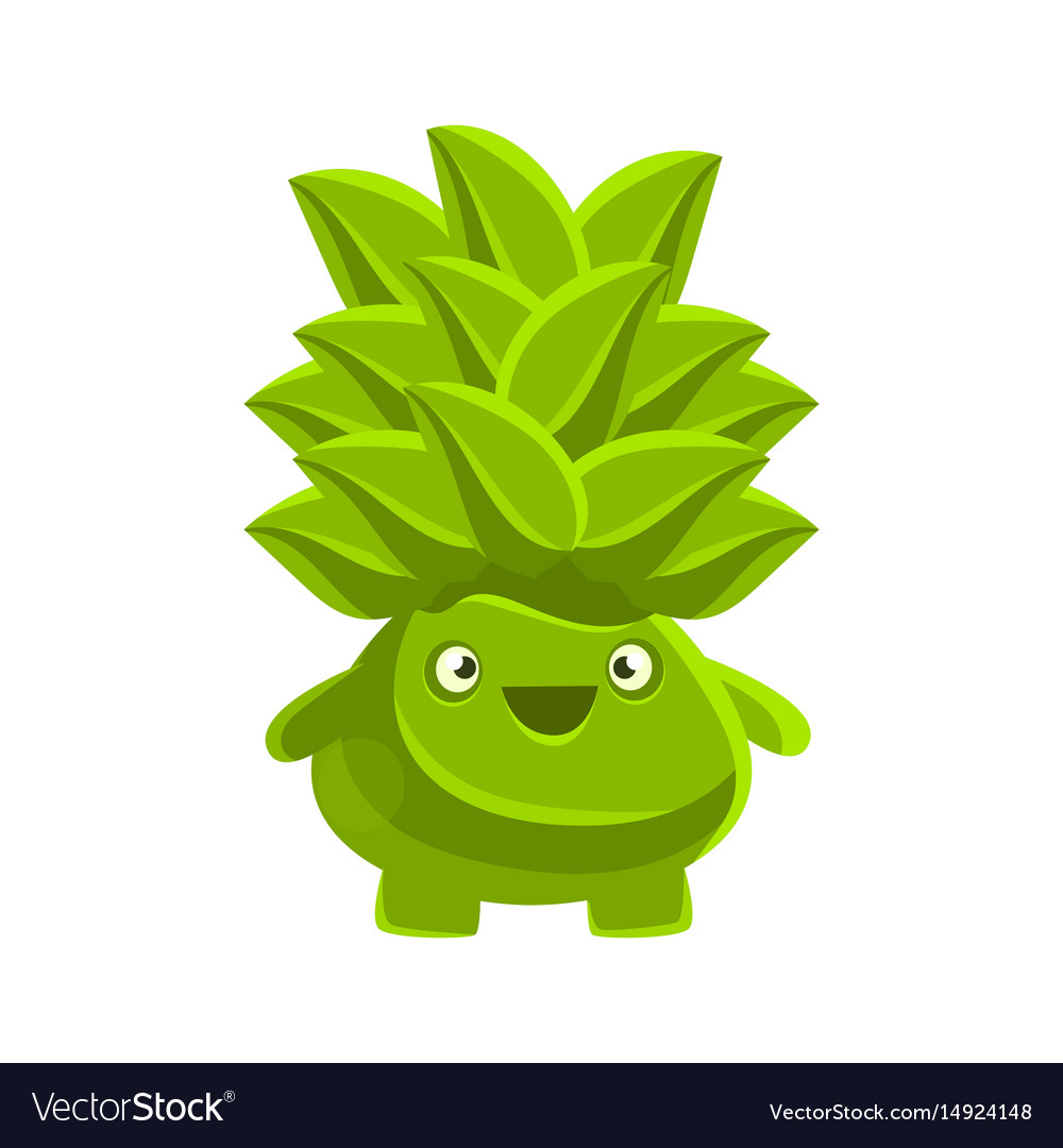 Happy smiling succulent emoji cartoon emotions vector image