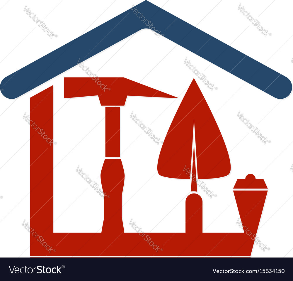 Construction of the house with a tool vector image