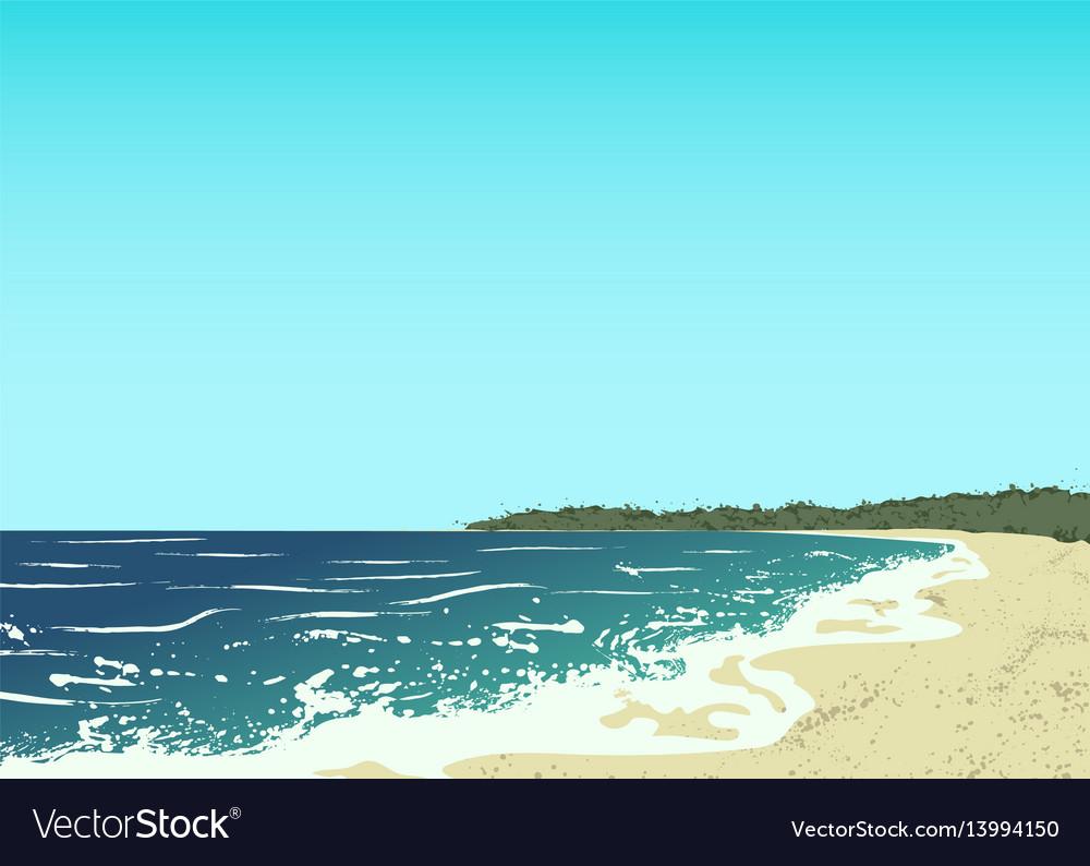 Ocean and sand beach vector image