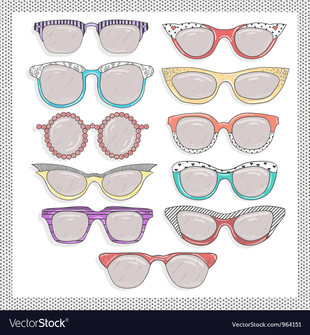 Retro sunglasses set Vector Image