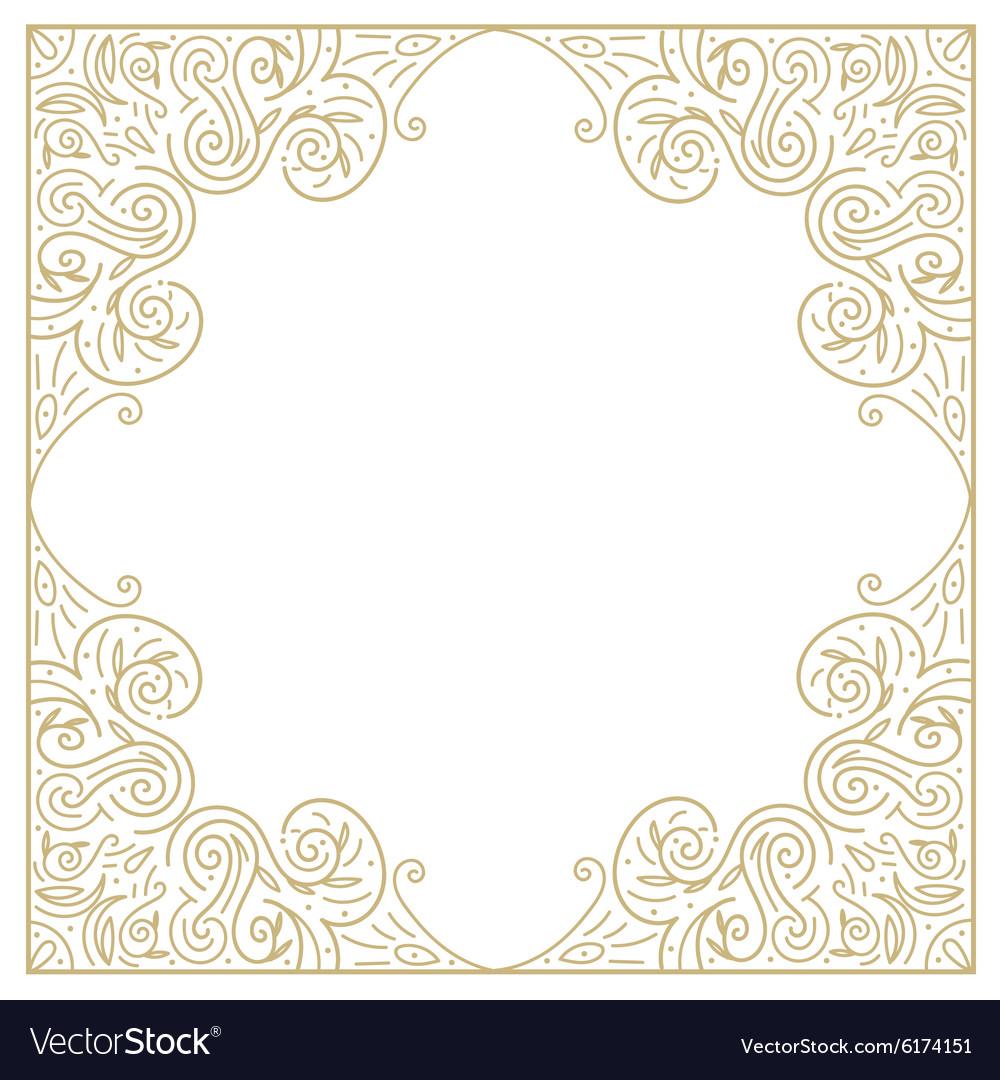 Vintage gold background ornamental hand draw vector image