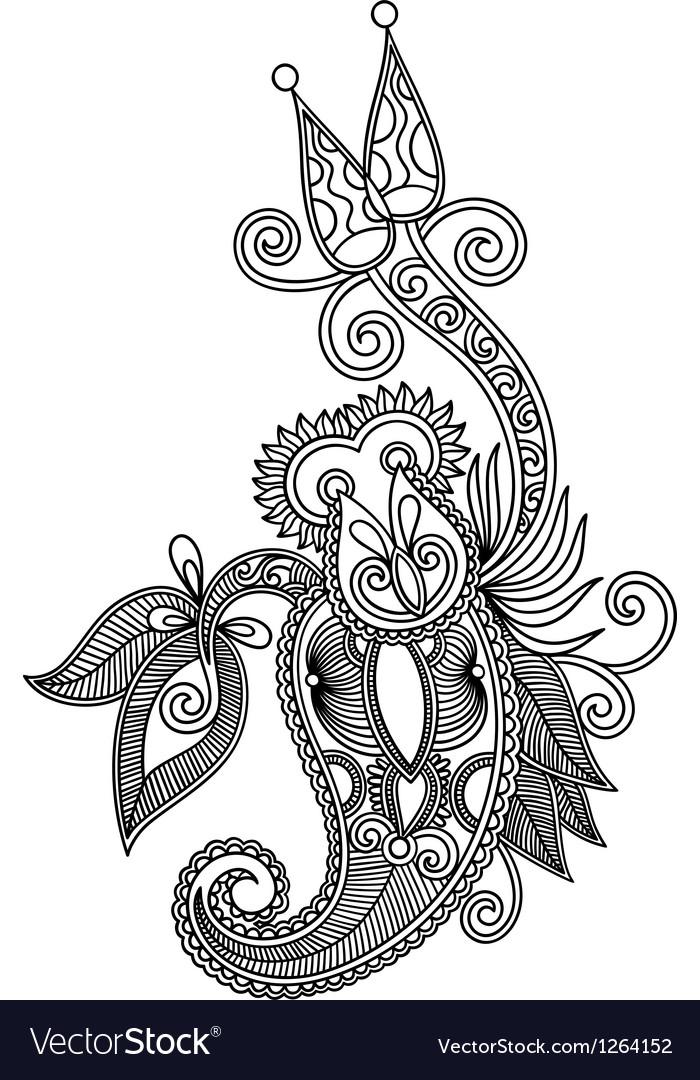 Hand draw line art ornate flower design vector image